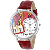 Whimsical Watches Unisex U0710002 John 3:16 Burgundy Leather Watch