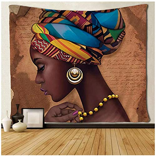 KBIASDniñas Tradicionales africanas Mujeres Negras tapices Arte de la Pared Mantel Colgante de Pared 200x150cm