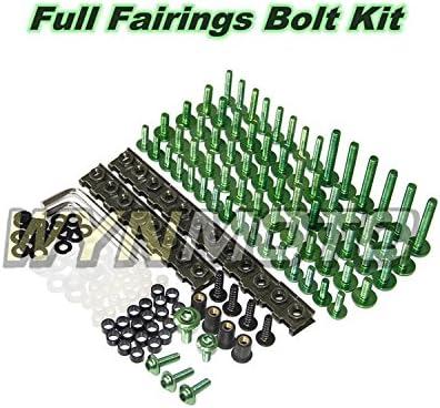 WYNMOTO US Stock ZX10R 2004 2005 04 05 Full Motorcycle Fairings Aluminum Fasteners Bolt Kit Body Screws Hardware Clips Black