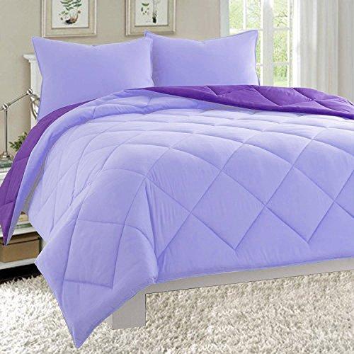 Elegant Comfort All Season Light Weight Down Alternative Reversible 2-Piece Comforter Set, Twin/Twin XL, Lavender/Purple