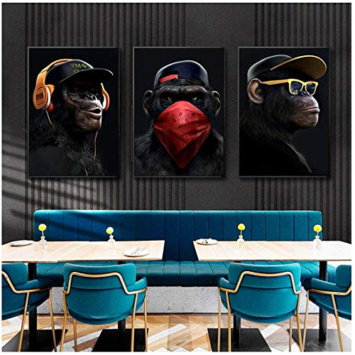 XIONGSHENG Lustiger denkender AFFE mit Kopfhörer-Leinwand-Gemälden an der Wand Poster und Drucke Tierbilder 70x90cm Mit Rahmen schwarz