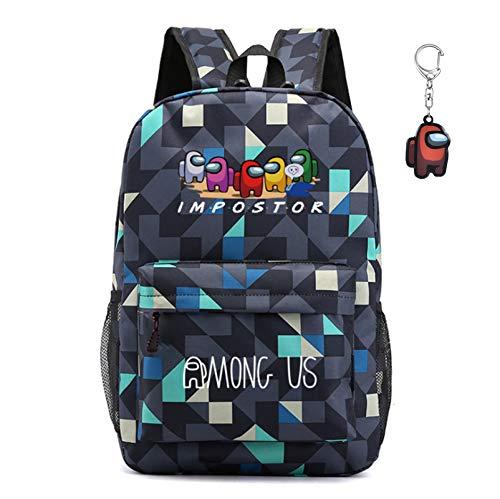 Among us Mochila , mochila para estudiantes sWerewolf Killing, mochila para computadora portátil para niños y niñas, regalo para fanáticos de los juegos adolescentes, con llavero (Estilo 3)