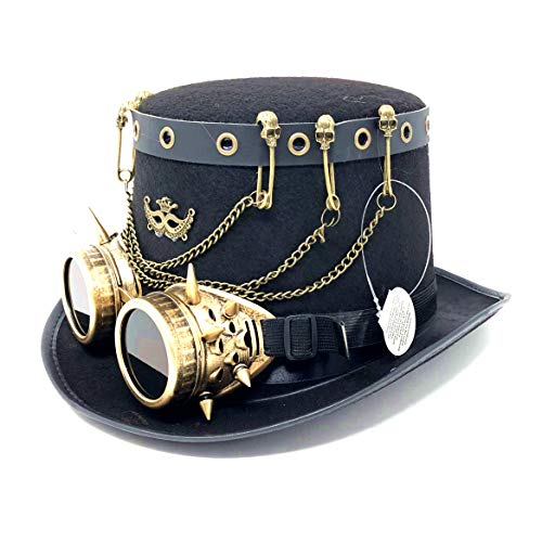 Storm buy ] Steampunk Top Hat Mad Scientist Time Traveler Feather Halloween Costume Cosplay Party with Goggles (Black Chain)