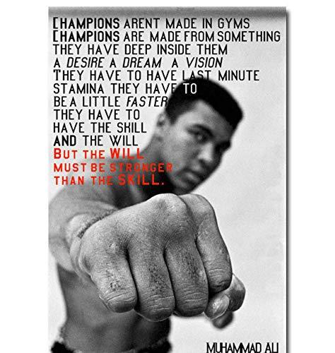 DPFRY Leinwandbilder Muhammad Ali Motivations Zitat Boxen Kunst Poster Wohnkultur 40Cmx60Cm Ohne Rahmen