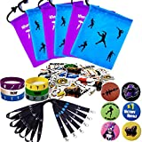Gaming Party Supplies Set - 96 Pack Video Game Birthday Party favors set, Reusable Drawstring Gift Bags, Gaming Lanyards, Badges, Bracelets & Gamer Stickers