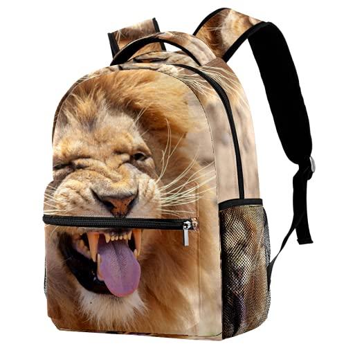 Mochila escolar de animales de león mochila de viaje casual para mujeres, adolescentes y niños