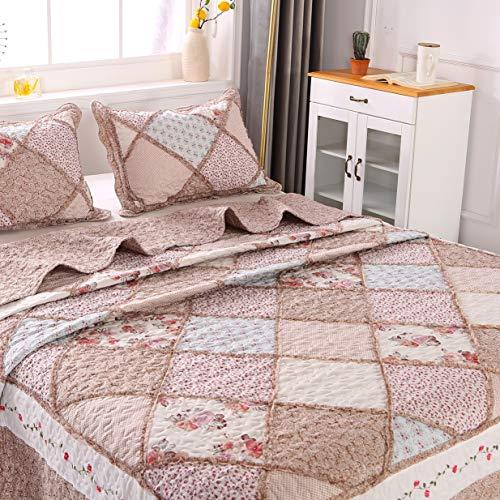 ENCOFT Tagesdecke 3 Teilig Bettwäscheset Polyester 220 * 240 cm Bettüberwurf Steppdecke Patchwork Bettdecke Doppelbett (220 x 240 cm, Pink)