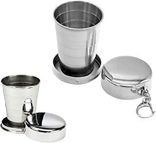 Stainless Steel Collapsible Travel Cup 2 PACK 140ml Telescopic Collapsible Stainless Steel Pocket Cup With Key Chain Folding Cups Camping Mug Collapsible Cup
