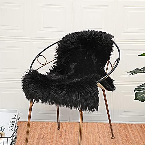 ZCZUOX Faux Schaffell Teppich, Faux Lammfell-Teppich Lang Kunstfell Schaffell Imitat Faux Bett-Vorleger Oder Matte für Stuhl Sofa for Wohnzimmer Schlafzimmer (Schwarz, 60x90cm)