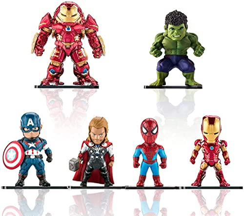 Superhero Action Figures - 6 PCS Exclusive Action Figure Set PVC Figure Hero Cake Toppers Toys for Kids Gift