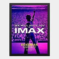 ハンギングペインティング - ボヘミアンラプソディ Bohemian Rhapsodyのポスター 黒フォトフレーム、ファッション絵画、壁飾り、家族壁画装飾 サイズ:33x24cm(額縁を送る)