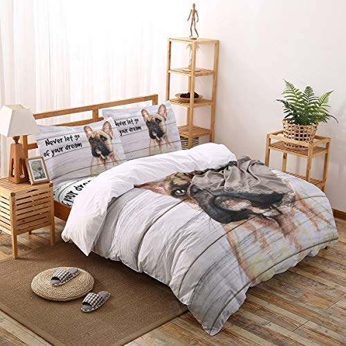 4 Piece Duvet Cover Set Queen Size,French Bulldog Wood Board Never Let Go of Your Dream Uultra Soft Comforter Bedding Sets (1 Duvet Cover, 1 Bed Sheet, 2 Pillowcases)