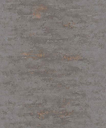 Topchic Behang betonstijl grijs en koperkleurig