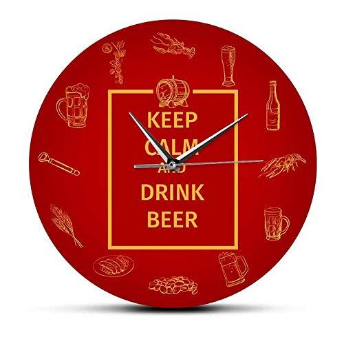 WLALLSS Halten Sie Sich ruhig und Trinken Sie Bier Wein Wanduhr für Pubs Bars und Restaurants Stille Wanduhr Küchenkunst Britische Wohnkultur Uhr - kein Rahmen