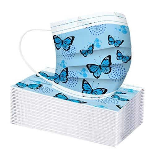 Amuse-MIUMIU Einweg Mundschutz Kinder mit Bunter Schmetterling Motiv Druckmuster,Cartoon 3-Lagig Mund und Nasenschutz Atmungsaktive Weihnachtsmotiv Sport Bandanas für Jungen Mädchen (50 PCS, Blue)