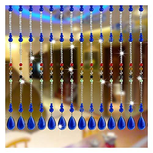 XUEYAN - Cortinas con cuentas de cristal, cortina de separación para cuarto de baño, sala de estar, decoración personalizable (color: A, tamaño: 20 hilos-50 x 180 cm)