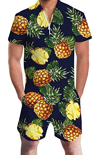 Men Rompers Hawaiian Tropical Shirt Pineapple Graphic Bro Jumpsuit One Piece Outfits Zip Beach Party Holiday Cargo Vacation Overalls