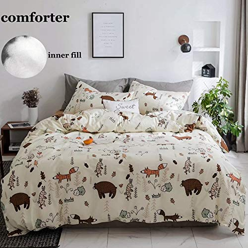 CLOTHKNOW Boys Comforter Sets Queen Yellow Bear Fox Bedding Sets Full Teen Cartoon Bed Set Woodland Theme Animal Forest Bedding Sets Full 3 Pcs Bedding Comforter Set with 2 Pillowcases