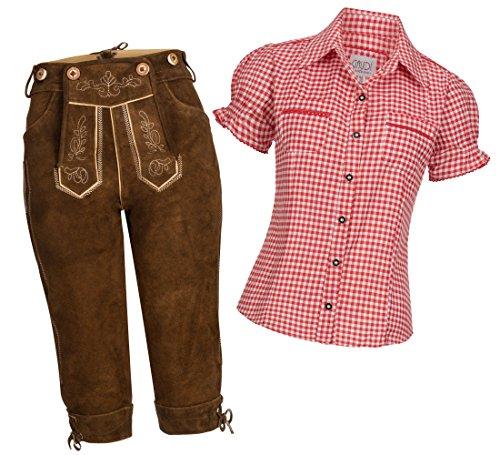 Gaudi-Leathers Damen Set Kniebund hellbraun Gr. 38 + Trachtenbluse Mala rot Gr. 38