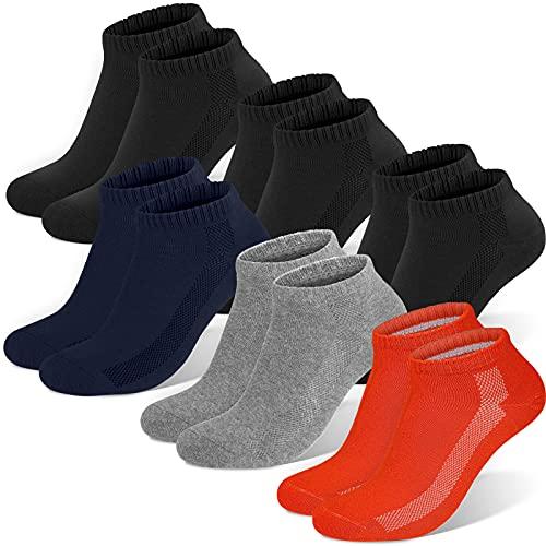 Sneaker Socken Herren Damen, 6 paar Unisex socks Sportsocken Laufsocken Baumwollsocken, Schwarz×3+rot×1+hellgrau×1+dunkelblau×1, L