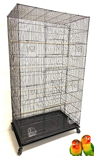 Mcage 55' X-Large Multiple Flight Bird Aviary Budgie Canary Finch Breeding Cage with Rolling Stand (Black)