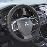 BDK Ergonomic Non-Slip Grip Genuine Leather Car Steering Wheel Cover (Black/Medium Size 14.5 to 15.5') (SW-899-MK)