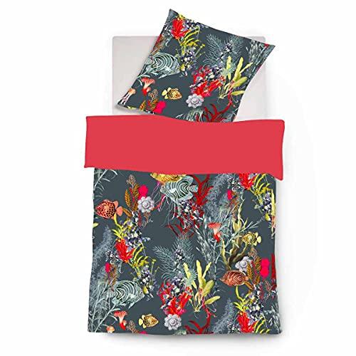 fleuresse Mako-Satin Bettwäsche Bed Art S Fredericton Koralle 1 Bettbezug 135 x 200 cm + 1 Kissenbezug 80 x 80 cm