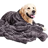 MIGHTY MONKEY PetBlanket, 60x70, Soft Reversible Sherpa Cat and DogBlanket, Machine Washable, Plush, Warm and Cozy Faux Fur Throw, Puppy Bed Cover, for Crates, Couch, Car, Jumbo Size, Fluffy Gray