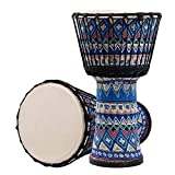 LuiYninhuoJin Djembe, Goatskin Cloth Drums Djembe Hand-Painted African Drums Cloth Stitching Djembe for Kids Adults Awesome Gifting Idea (Color : E-10in)