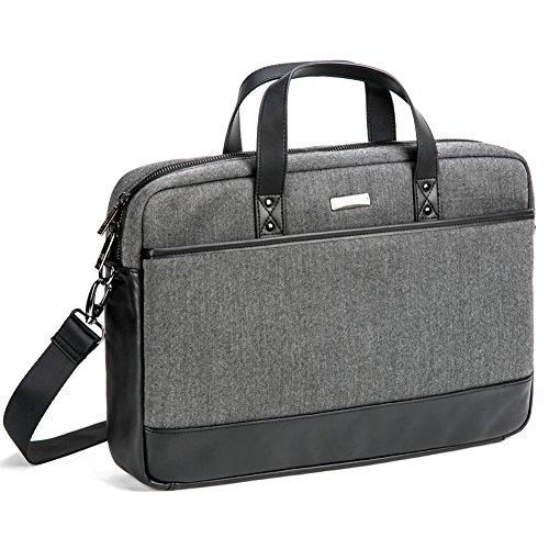 EveCase 17.3' Custodia Briefcase Laptop, Professionale Universale Valigetta Borsa Porta Computer con Tracolla per PC, Computer Portatile, Chromebook Fino alle 17.3 Pollici - Grigio/Nero