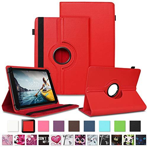 NAUC Tablet Hülle kompatibel für Medion Lifetab E10430 E10604 E10412 E10511 E10513 E10501 Tasche Schutztasche Cover Schutz Hülle 360° Drehbar Etui hochwertiges Kunst-Leder, Farben:Rot