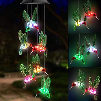 Topspeeder LED Solar Hummingbird Wind Chime Changing Color Waterproof Six Hummingbird Wind Chimes for Home Party Night Garden Decoration  Green Hummingbird Birds
