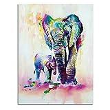 WZXHN Paint by Number Kits Familia de Elefantes Cuadros Acuarela Arte Abstracto de la Pared Animal Impresión de la Lona Artes Imagen Decoración Cartel e Impreso