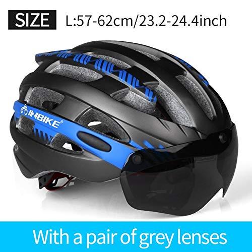 IAMZHL Fahrradhelmmit SchutzbrilleMTB Fahrradhelm Herren Damen Mountain Road Damen Casco Spezialisierte Fahrradhelme-Blue L 1 Lens