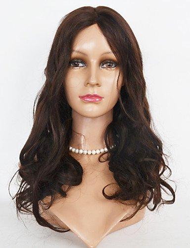 jiayy 10 – 24 inch pelucas de fausse fourrure du cordon de les pelucas du poil de la onda du corps du front 40,6 cm - Noir de jais