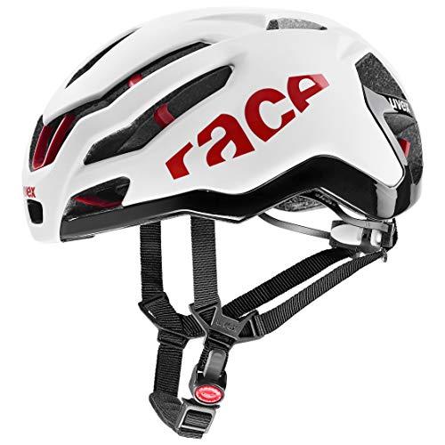 uvex Race 9 Casco de Bicicleta, Unisex-Adult, White-Red Mat, 57-60 cm