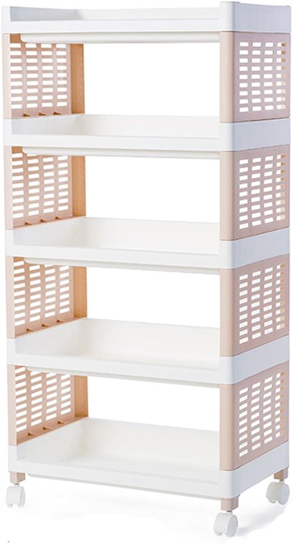 Kitchenware Racks Storage Tower 49cm Clearance Rack Multilayer Sliding Kitchen Bathroom Storage Shelf Slot Organizer Plastic 4 Layers 5 Layers Optional (color   A, Size   5 Layers)