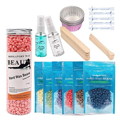 Perlas de cera profesional para depilación con cera caliente de alta calidad con 6 bolsas de perlas de cera para bikini axila piernas cara grande cuentas de recambio para calentadores de cera en casa
