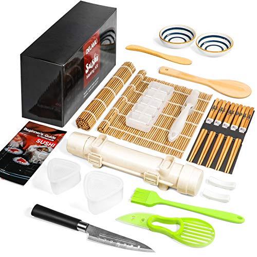 Sushi Making Kit Delamu 21 in 1 Sushi Maker Bazooka Roller Kit with Bamboo Mats Chef Knife Triangle/Nigiri/Gunkan Sushi Mold Chopsticks Sauce Dishes Rice Spreader User Guide