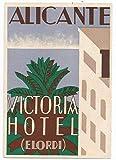 Alicante España Victoria Hotel Póster Reproducción – Formato 50 x 70 cm Papel Luxe 300 gr – Venta del archivo digital HD Posible nos consultar (tienda: cartel vintage.FR)