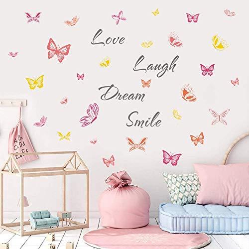 KAIRNE 40Pcs Coloré Sticker Mural Papillon - Autocollant Muraux Citations Inspirantes Love Laugh - Romantique Stickers Muraux pour Chambre de Filles- DIY Sticker Mur Déco Salon Enfants Bébé Chambre