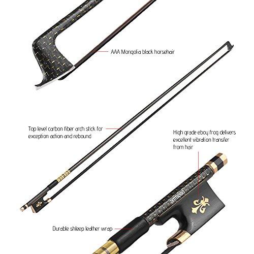 ammoon4/4バイオリン弓ゴールデン編組炭素繊維丸棒エボニーフロッグAAAモンゴルブラック馬毛