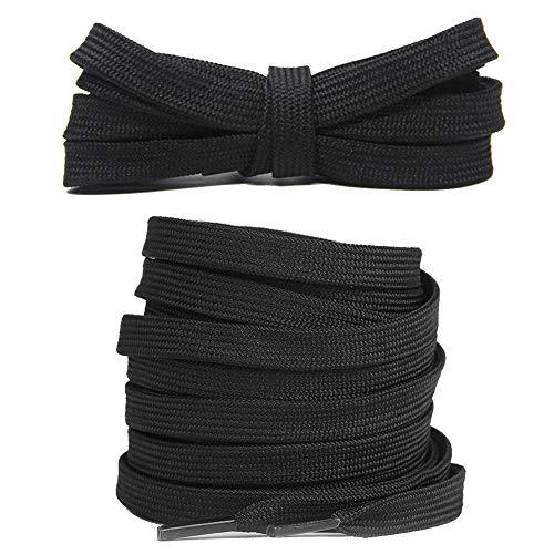Junlic Flache Schnürsenkel, Reißfest [3 Paar] Ersatz Schuhbänder 100% Polyester 8 mm breit Schnürsenkel für Sportschuhe und Sneaker Schwarz