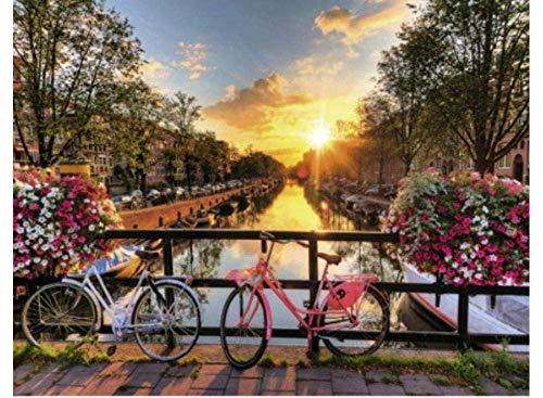 Schilderen door nummers Liefde in Amsterdam DIY Digitale Schilderij Verf door Getallen Op Canvas Huisdecoratie 40X50Cm Frameless