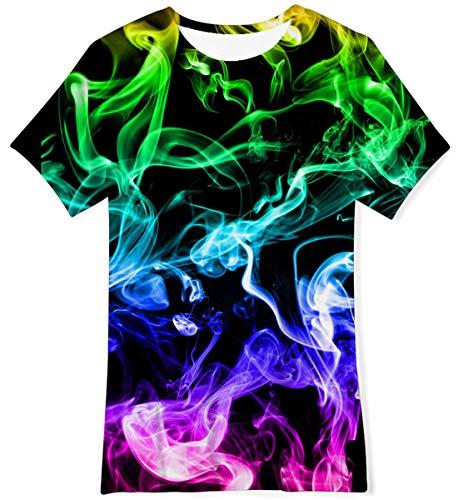 NEWISTAR Kurzarm Tshirt Jungen 3D-Druck Grafik T-Shirt Rundhals-Sommerhemd Tops Kinder Kleidung 9-12 Jahre