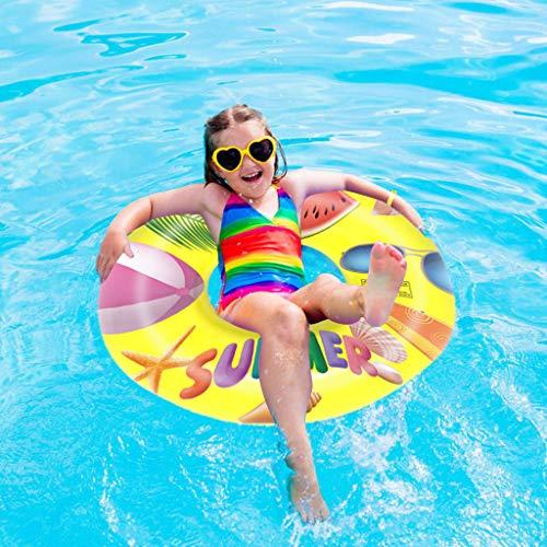Koly-Hundebett 28 Zoll Große Runde Aufblasbar Schwimmen Ringe mit Pumpe Anti-erbrechen,dauerhaft,Mehrfarbig, Kinder Schwimmen Schwimmbad PartyStrand Zeit Schwimmen Schwimmbad Ring