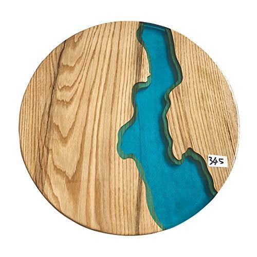 XQKXHZ Mesa Auxiliar De Diseño, Sofá Moderno, Pequeña Mesa Redonda De Resina con Río, Mesa De Centro De Madera Natural para Sala De Estar con Patas De Metal para Muebles De Oficina,B,60x60x55cm