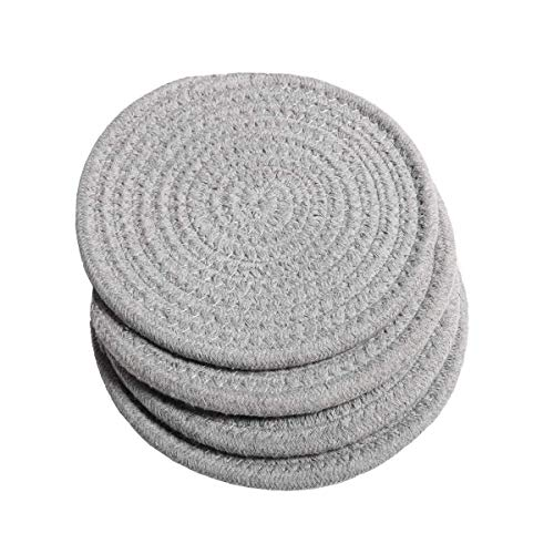 SHACOS Cotton Rope Woven Braided Trivets 7 inch Set of 4 Hot Pot Holder Heat Resistant Hot Pads Hot Mats for Hot Dishes Hot Pans Place Mats (Light Gray, 7 Inch)