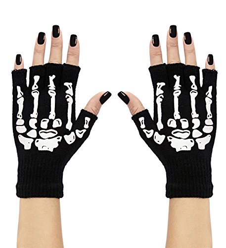 Panelize Skeletthandschuhe Knochenhandschuhe fingerlos Halloween Skelett Sensemann