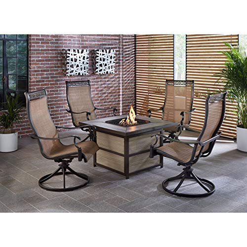 Hanover Monaco 5-Piece Rust-Free Aluminum Outdoor Patio Fire Pit Chat Set with 4 Sling Swivel Rockers and a 40,000 BTU Gas Fire Pit Coffee Table, MON5PCSQSW4FP
